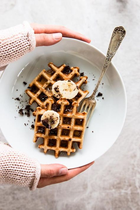 These waffles are made with 100% whole wheat flour and mashed bananas. Dark chocolate chunks turn them into a special treat - try them for your next brunch!