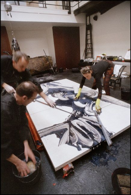 French painter Fabienne Verdier at work - by rené Burri, Magnum Photos -