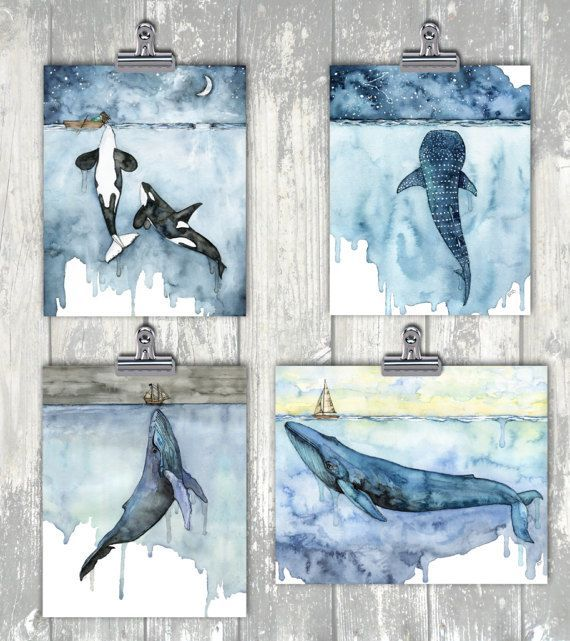 Watercolor Whale Painting Print titled Fathoms