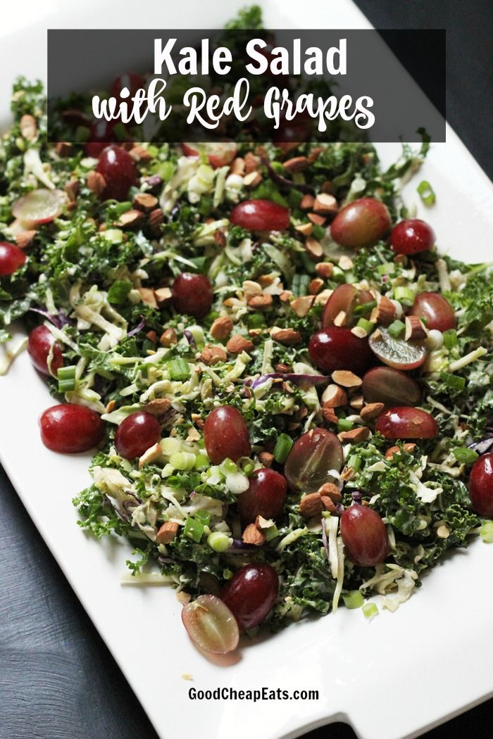 Kale Salad with Red Grapes   Good Cheap Eats - Celebrate the season with a festive Kale Salad with Red Grapes, Almonds, and Scallions. It's quick and easy to pull together.
