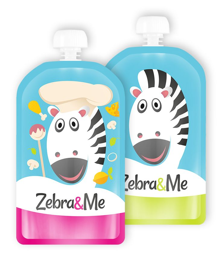 New designs - Zebra&Me Reusable Food Pouch. Fill with favourite home-made pureed food, smoothie, yoghurt, pudding,... clean and reuse again and again....