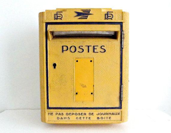 O R I G I N A L Jahrgang XL französische Wand Mail Box POSTES Post Büro 70er Gusseisen / / Industrial Dekor //French Postfach //Loft Deor
