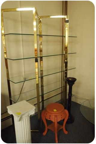 80s brass and glass shelving unit