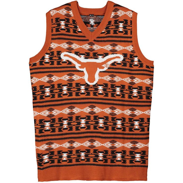 Texas Longhorns Aztec Ugly Sweater Vest - Texas Orange