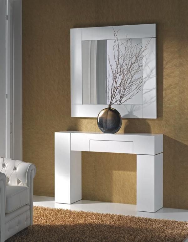 Zhen, modern console table in white or black lacquer or walnut and wenge finish