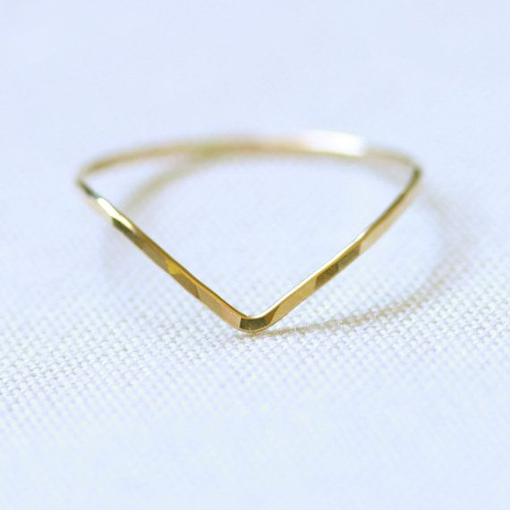One Chevron Thread of Gold Ring - Rose or Yellow - Tiny Hammered Stacking Ring - Delicate Jewelry via Etsy