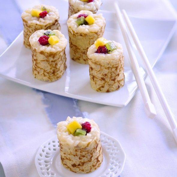 Recette Crêpes de riz au lait, kiwi, mangue et framboise (façon maki) (facile) : Francine, recette de Crêpes de riz au lait, kiwi, mangue et framboise (façon maki) pour 6