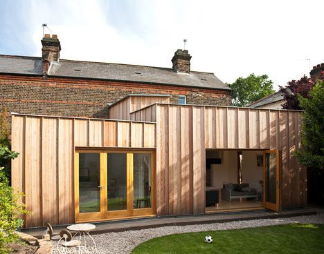 Three Shed Like Volumes Clad In Unfinished Larch   House Extension   Timber  Fin House