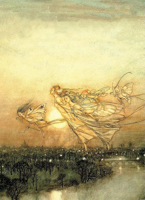 "'Twilight Dreams (detail)' 1913 by Arthur Rackham    Arthur Rackham's watercolor painted in connection with J. M. Barrie's novel ""Peter Pan in Kensington Gardens.""    Arthur Rackham  Watercolor, pen & ink  [English Golden Age Illustrator, 1867-1939]"