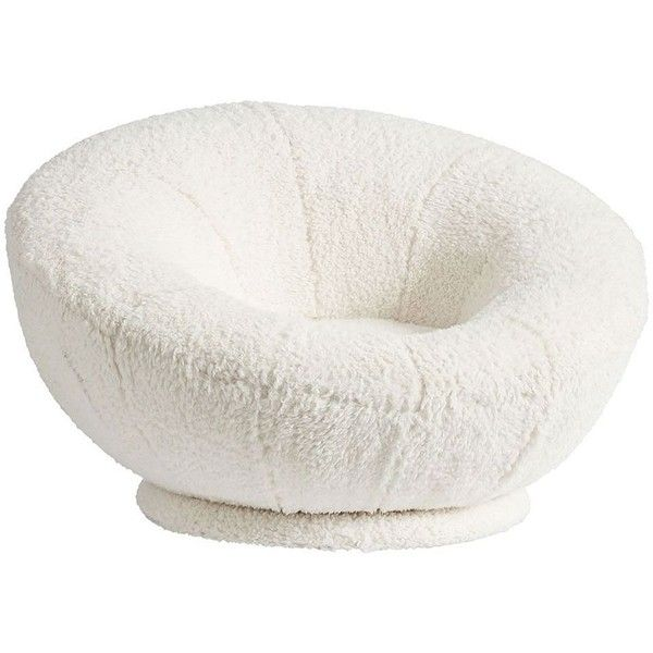 PB Teen Sherpa Ivory Faux-Fur Groovy Swivel Chair ($449) ❤ liked on Polyvore featuring home, furniture, chairs, pbteen furniture, antique white chairs, off white furniture, cream chair and cream colored furniture