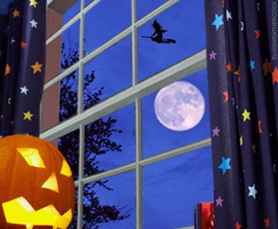 A Jack o Lantern's view out the window Halloween night watching witches fly past the full harvest moon    Timely gif animation by Elvis Weathercock