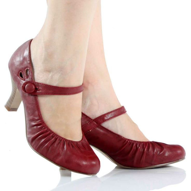 Dark-Red Mary Jane Pump Kitten Heel Dress Womens Low Mid ...
