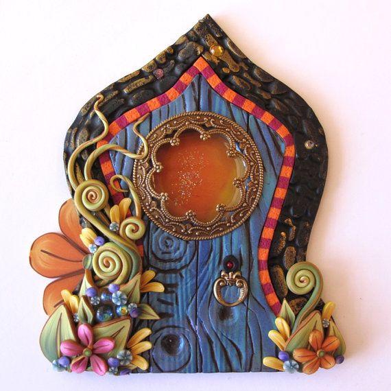 Boho Fairy Door Pixie Portal Blue Miniature Door Fairy Garden Decor on Etsy, $25.00