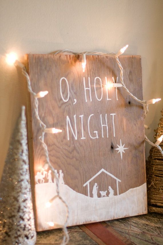 "Rustic ""O Holy Night"" Wall Hanging. $40"