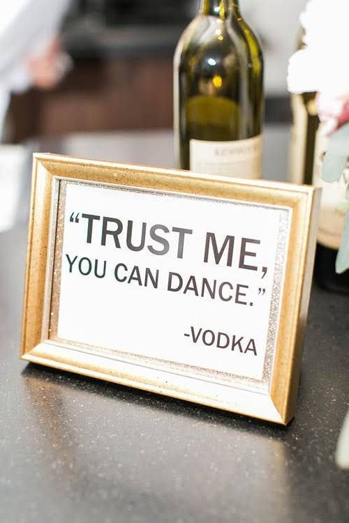 clever wedding signs for the bar