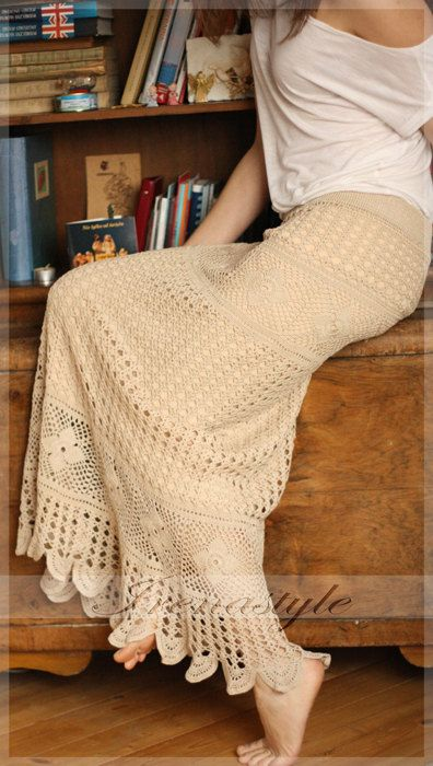 Crochet skirt . Lace skirt maxi .Cowboy style . by Irenastyle
