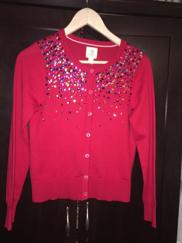 Lands End Girl's Size L (14) Red Sequin Cardigan Sweater #LandsEnd ...