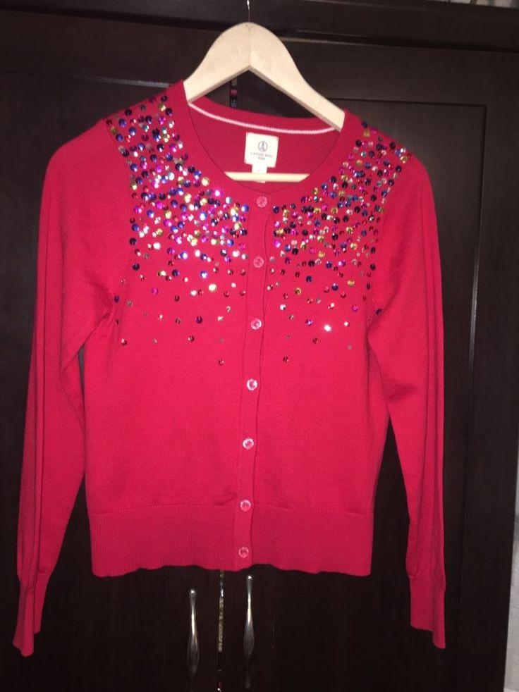 Lands End Girl's Size L (14) Red Sequin Cardigan Sweater #LandsEnd ...