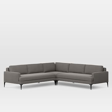 Andes Set 3: Right Arm 2.5 Seater Sofa, Left Arm 2.5 Seater Sofa, Corner, Herringbone Faux Suede, Charcoal