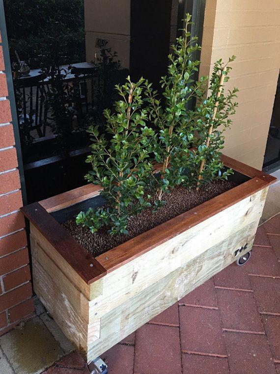 rstica vieja escuela jardineras exterior de pino tratado sobre ruedas sus hierbas favoritas