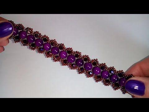 Lilac bracelet. DIY. Сиреневый браслет . Лёгкий узор. МК - YouTube