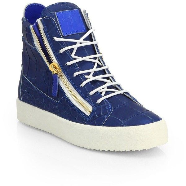 Giuseppe Zanotti Croc-Embossed Leather High-Top Sneakers : Giuseppe... ($840) ❤ liked on Polyvore featuring men's fashion, men's shoes, men's sneakers, apparel & accessories, mens high top sneakers, crocs mens shoes, giuseppe zanotti mens sneakers, mens high top shoes and mens crocodile shoes