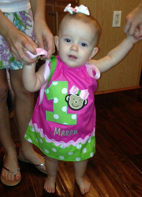Mod Monkey Birthday Girl Pillowcase Dress by SprinkledSweetDesign, $34.00