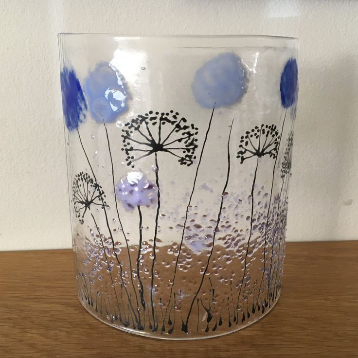 Floral Glass Plaque, Candle Display with lblue lilac flowers, Fused Glass…