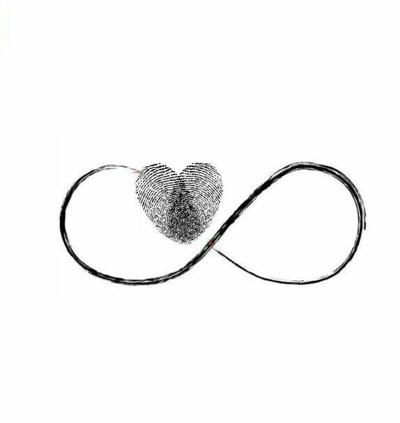 The two thumbprint heart infinity tattoo