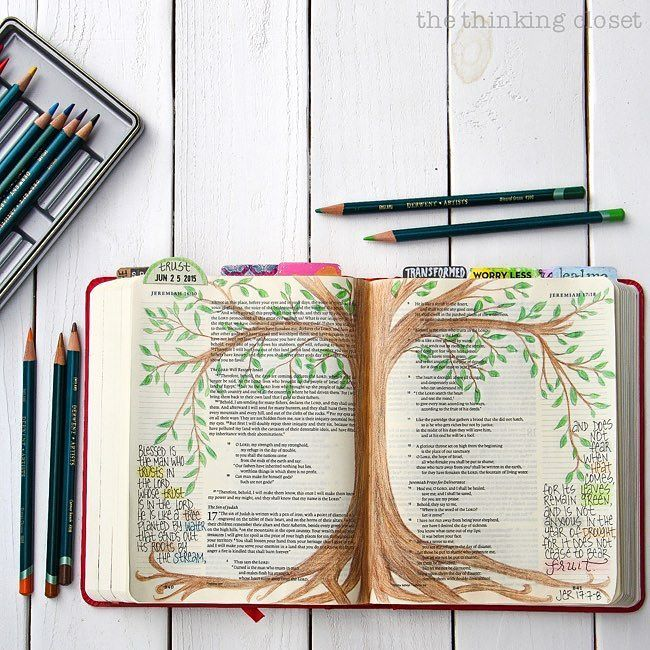 In this image the journalist has placed text within both pages margins as well as the image of a tree through the center. The text is the verse Jeremiah 17:7-8 continuing from one page to the other and highlighting certain words. The colors used to highlight add emphasis and symbolic meaning to specific words e.g. trust tree and fruit. The image placed within the center of the page becomes an illustration of the verses written in the margins: those who trust in the Lord are like a tree with…