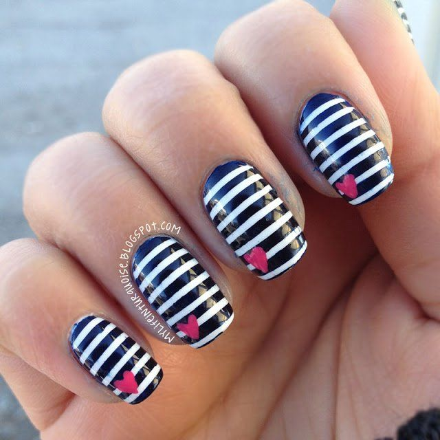 25+ unique Striped nail art ideas on Pinterest | Hibiscus nail art, Striped  nail designs and Black makeup lines - 25+ Unique Striped Nail Art Ideas On Pinterest Hibiscus Nail Art