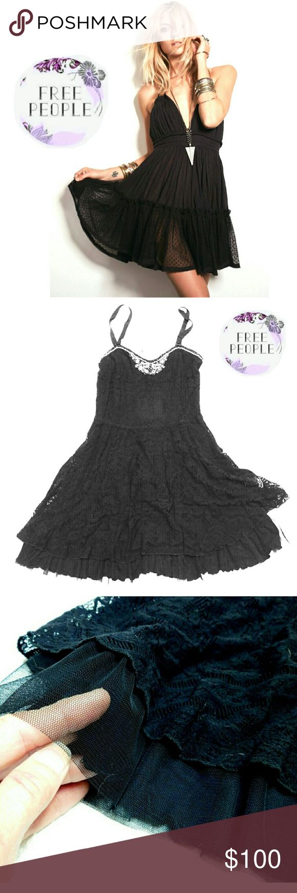NEW FREE PEOPLE FEMININE ENDLESS SUMMER DRESS NEW FREE PEOPLE FEMININE & FRILLY BLACK ENDLESS SUMMER DRESS Image for Similarity Only F697Z557 0010 Size M Beautiful Feminine & Flowing 3 Layers of Stretchy Lace on Top of Lined Slip Edged with Lace &