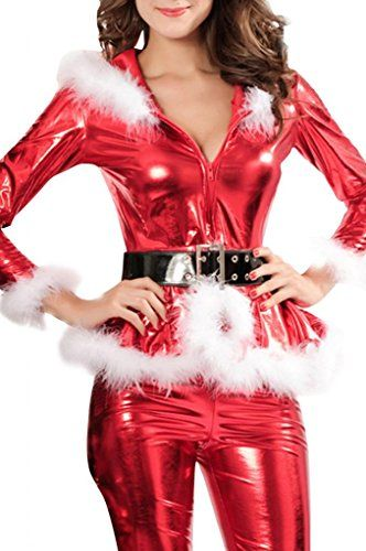 Romanse Women's Exotic Christmas Outfit Punky Santa Hooded Coat Slim Pants * You can get more details at