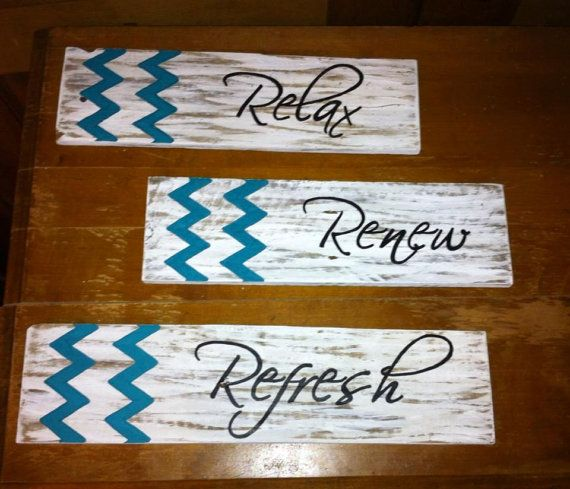 PLEASE WELCOME TRUDY & LESLEY! || Chevron Decor Relax Renew Refresh Sign by Country Clutter Home.