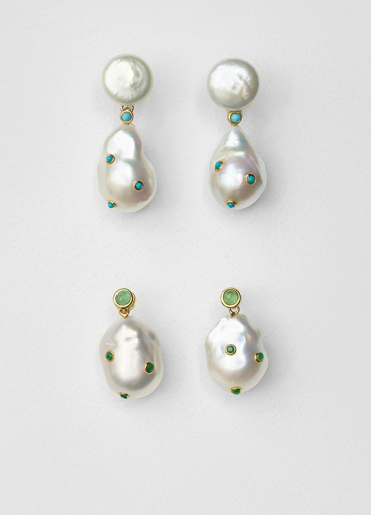 Baroque Earrings in Cultured Pearls, Turquoise and Gold Brass