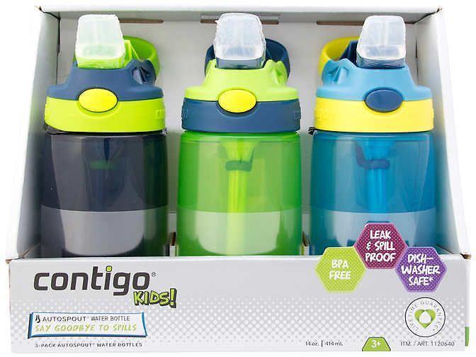 3-Pack Contigo Kid's Water Bottle w/ AUTOSPOUT