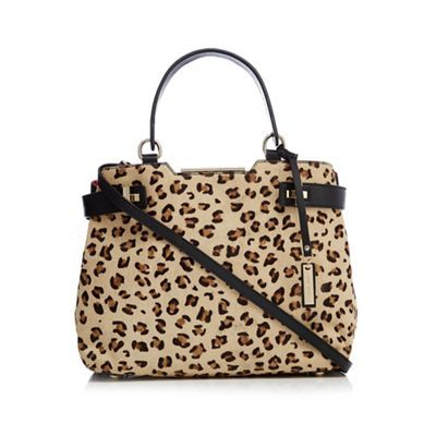 J by Jasper Conran Black and leopard print leather tote bag | Debenhams