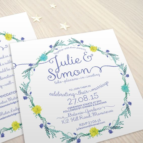 Wild Flowers © Paper Wedding 2015  Wedding invitation from the Off-the-Rack collection: http://www.paperwedding.co.nz/#!off-the-rack-designs/c1dlq