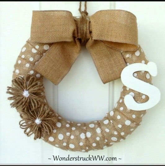 Easy pool noodle and burlap door wreath <3