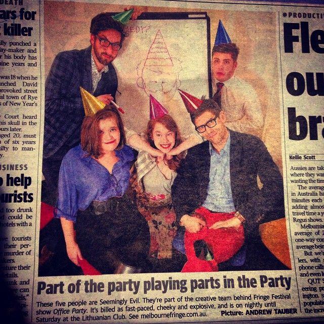 "@lachiemckenzie's photo: ""#OfficeParty got our mugs in #mX that's a ripper headline! #mfringe"""