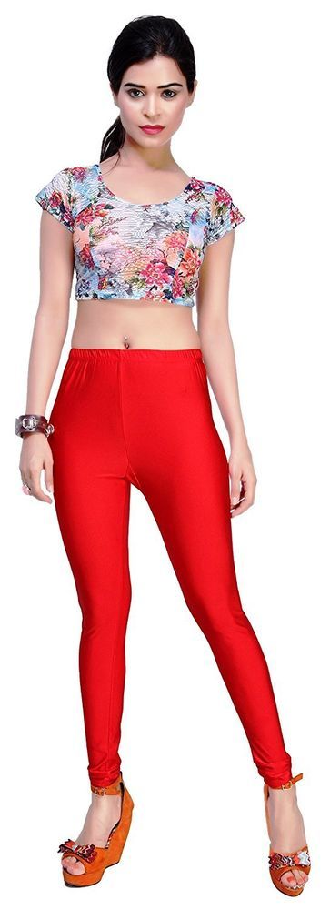new womens red shiny satin neon liquid wet look leggings XXXL size free shipping #wetland #slimfit