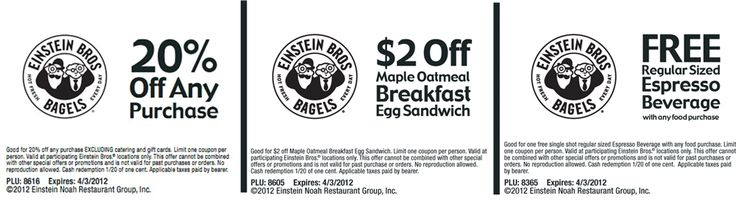 coupon  20% off, free espresso and more at Einstein Bagels  Expires 4-3-12