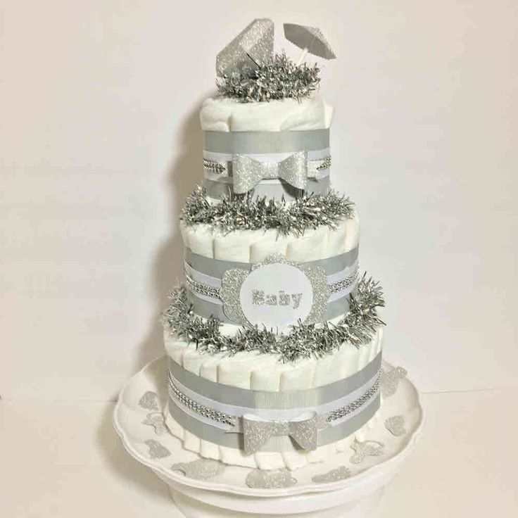 Silver and White Gender Neutral Diaper Cake Centerpiece