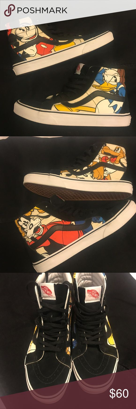 Disney limited edition Vans 4 different characters Disney Vans with 4 characters Mickey Mouse, Donald Duck, Pluto and Goofy men's size 9 woman size 10.5 there are limited edition and in brand new condition only used a couple of times they are a pretty awsome statement piece ! Vans Shoes Sneakers