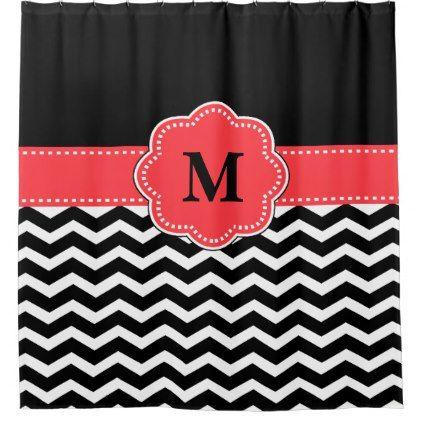 Coral Chevron Monogram Shower Curtain - monogram gifts unique design style monogrammed diy cyo customize