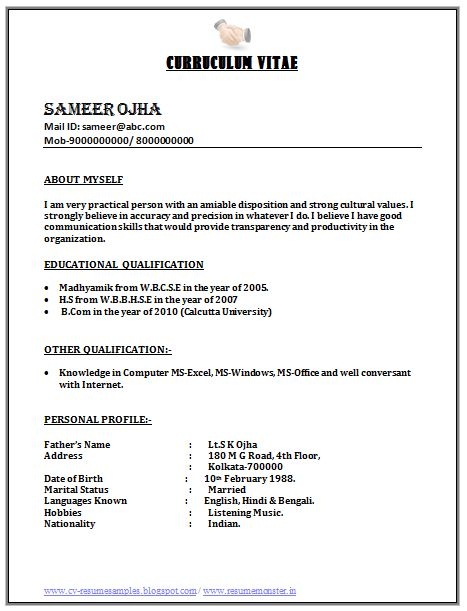 The 25+ best Resume format for freshers ideas on Pinterest - sample resume personal profile