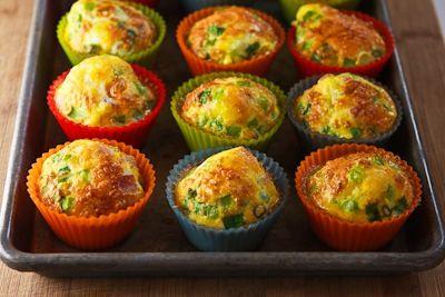 Online afvallen Weegclub :: Ei muffins met ham, kaas, lente ui en groene paprika (Low Carb Recepten )