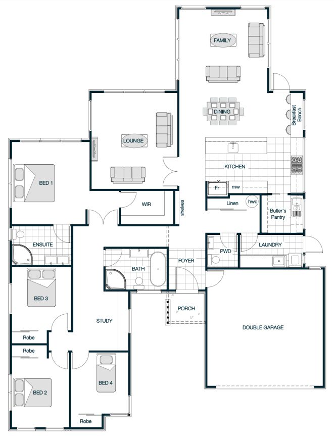 Floor Plan Friday Master Bedroom On The Back Floor Plans 4 Bedroom House Plans House Plans