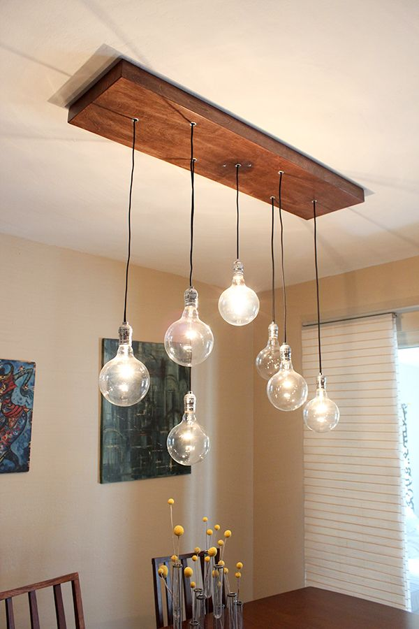 DIY A Rustic Modern Chandelier Would Great With Tube Edison Bulb Too