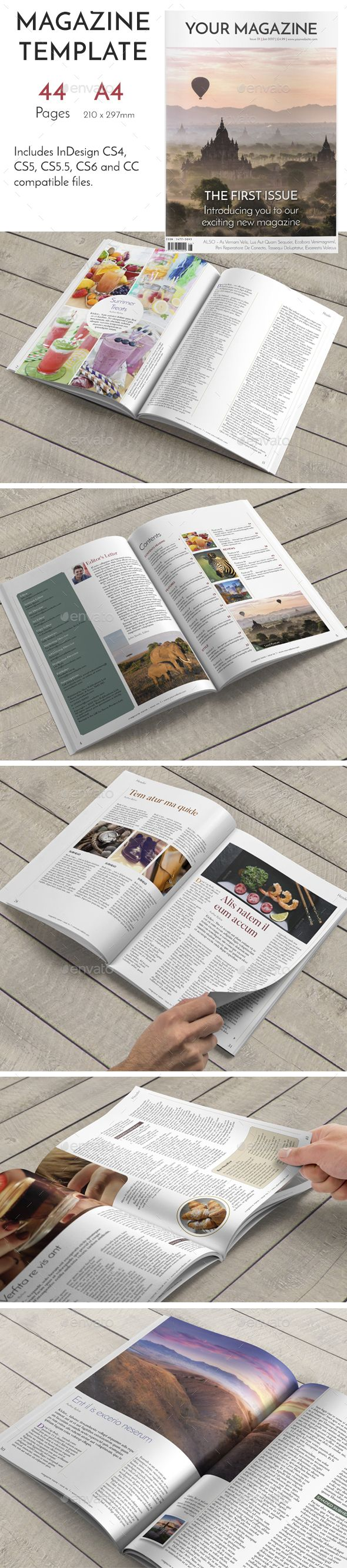 44 Page Elegant InDesign Magazine A4 by layoutdesigner A simple, yet elegant, 44 page magazine template complete with cover design, contents page and editorial spreads. This template wa